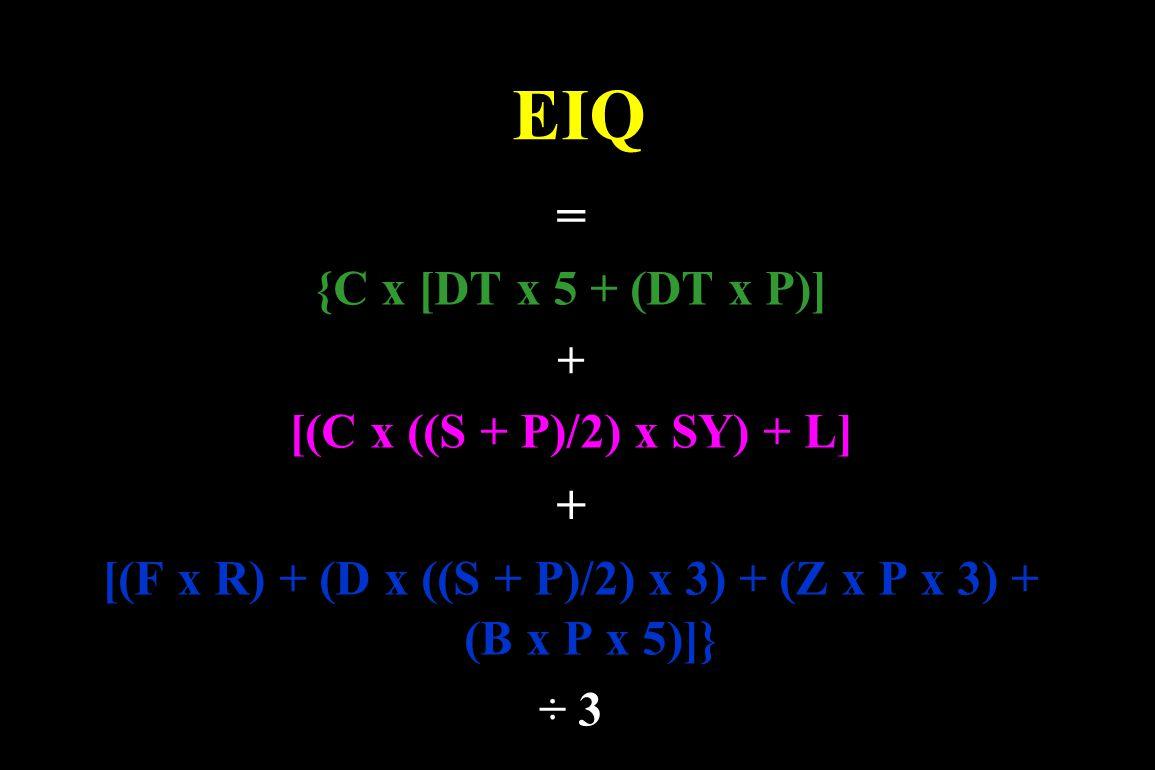 [(F x R) + (D x ((S + P)/2) x 3) + (Z x P x 3) + (B x P x 5)]}